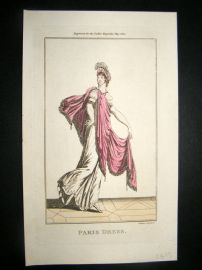 Lady's Magazine 1801 H/Col Regency Fashion Print. Paris Dress 06. Silver Heightening